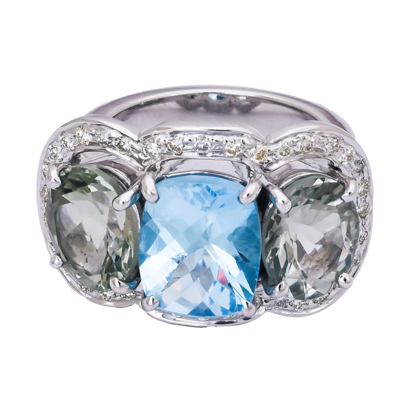 Ring- Blue Topaz, Green Quartz and Diamond