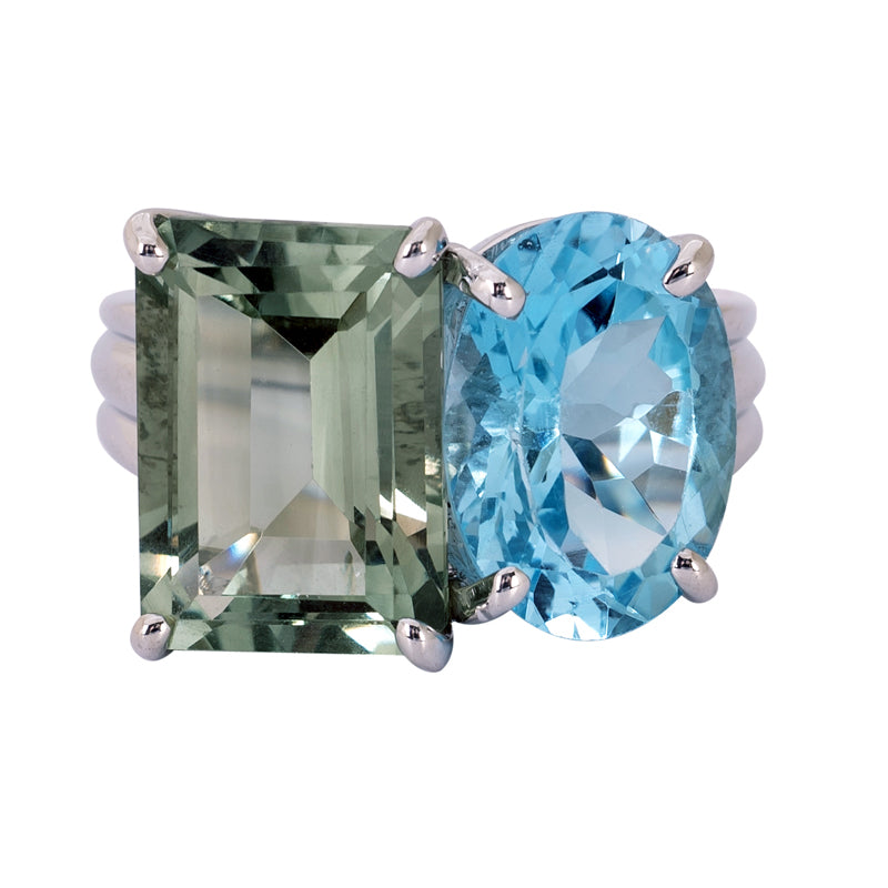 Ring- Blue Topaz and Green Quartz