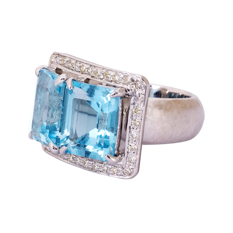 Ring- Blue Topaz and Diamond