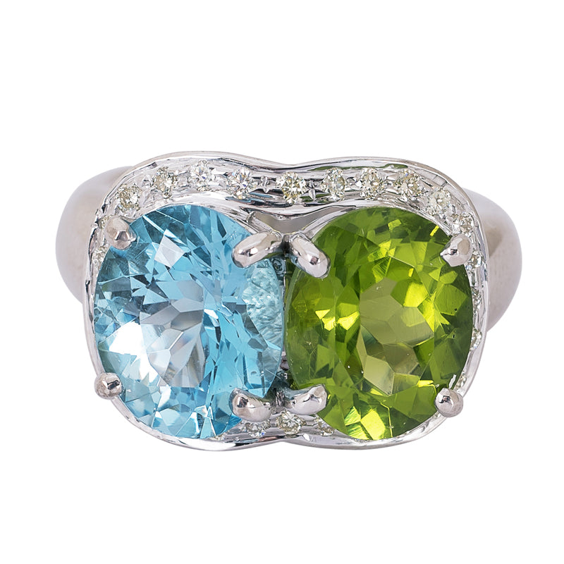 Ring- Blue Topaz, Peridot and Diamond