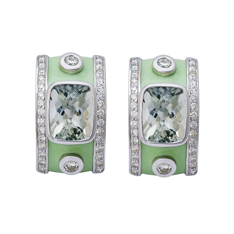 Earrings- Green Quartz and Diamond (Enamel)