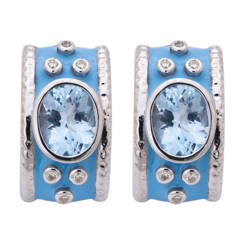 Earrings- Blue Topaz and Diamond