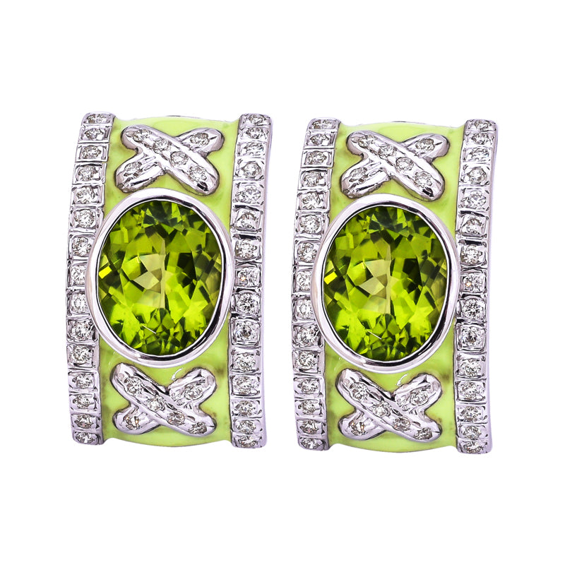 Earrings- Peridot and Diamond (Enamel)