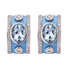 Earrings- Blue Topaz and Diamond (Enamel)
