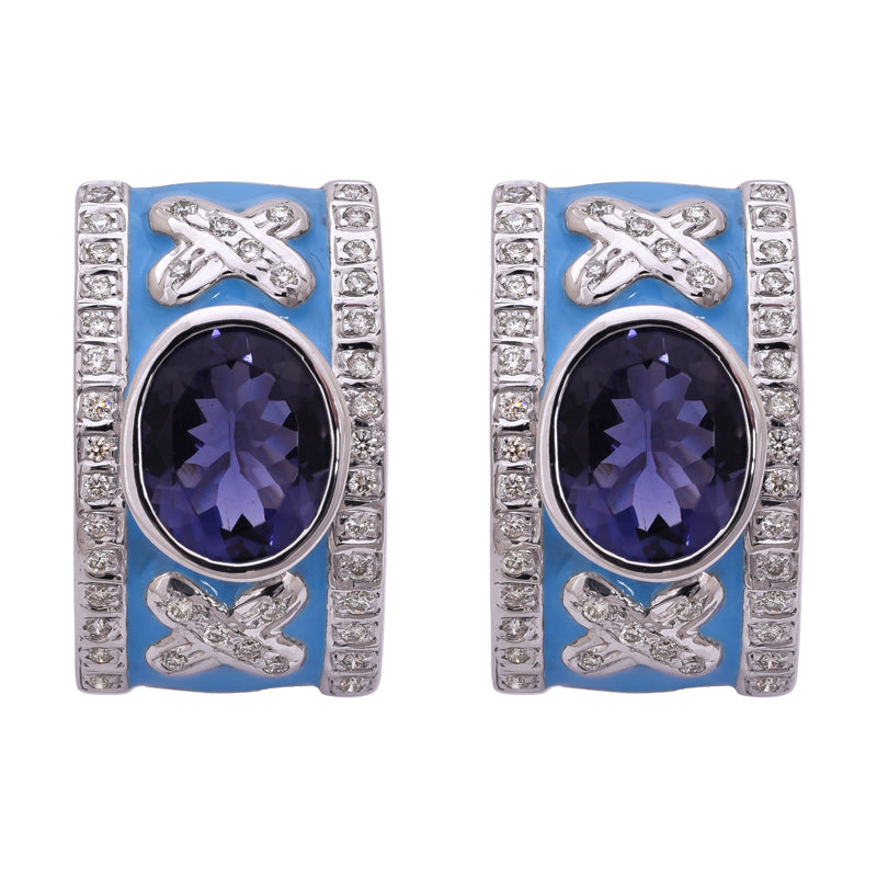 Earrings- Iolite and Diamond (Enamel)