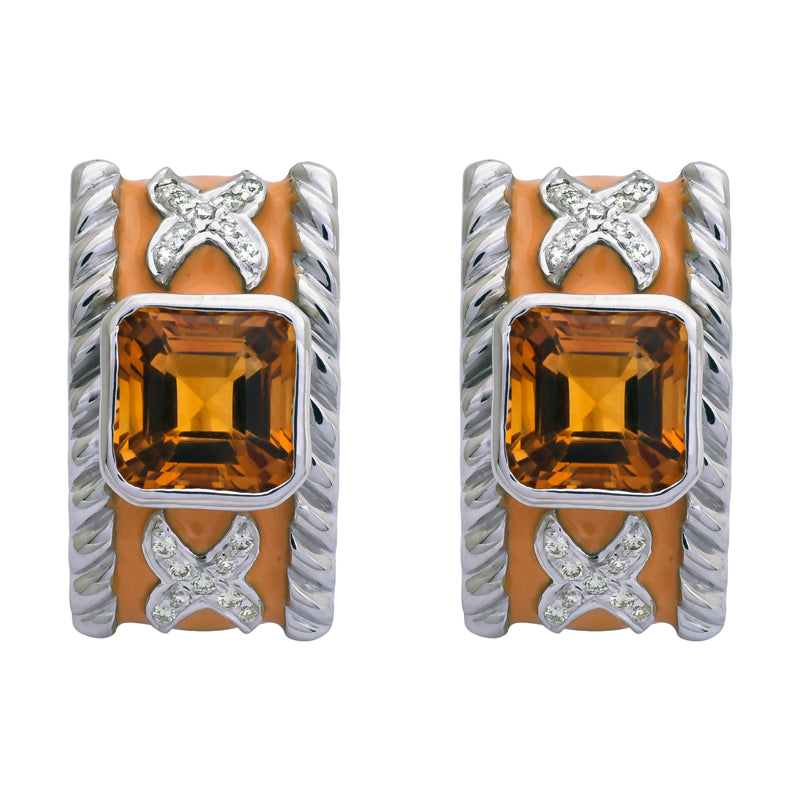 Earrings- Citrine and Diamond (Enamel)