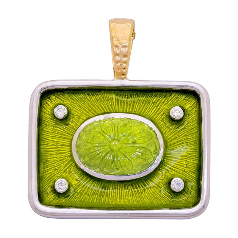 Pendant- Peridot and Diamond (Enamel)