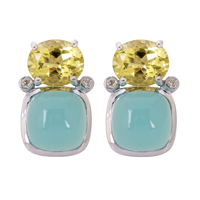 Earrings- Chalcedony, Lemon Quartz and Diamond