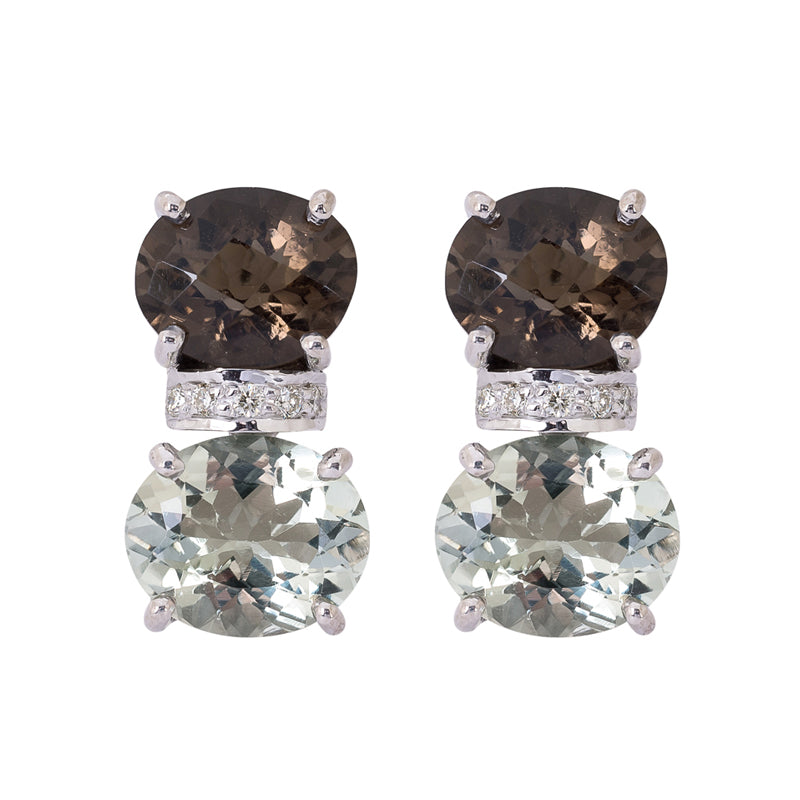 Earrings- Smokey Quartz, Green Quartz and Diamond