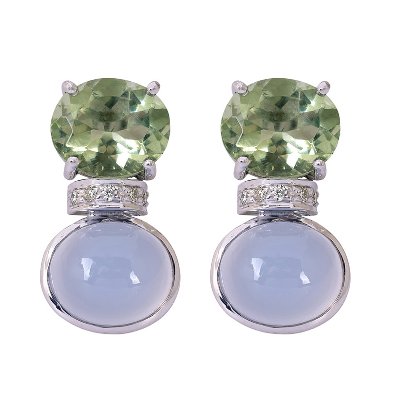 Earrings- Green Quartz, Chalcedony and Diamond
