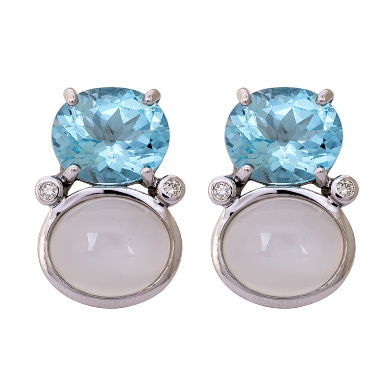 Earrings- Blue Topaz, Moonstone and Diamond