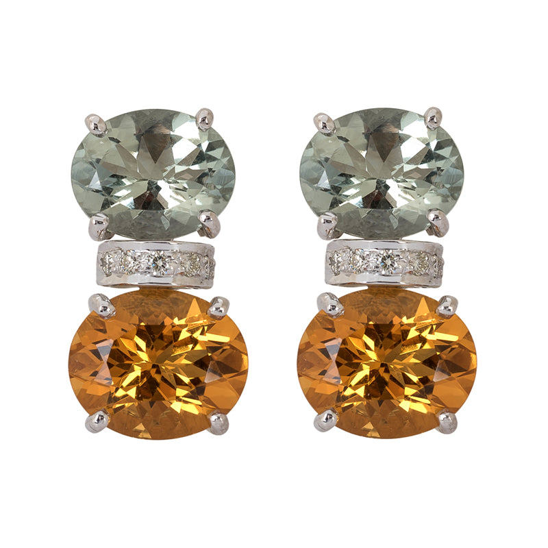 Earrings- Citrine, Green Quartz and Diamond