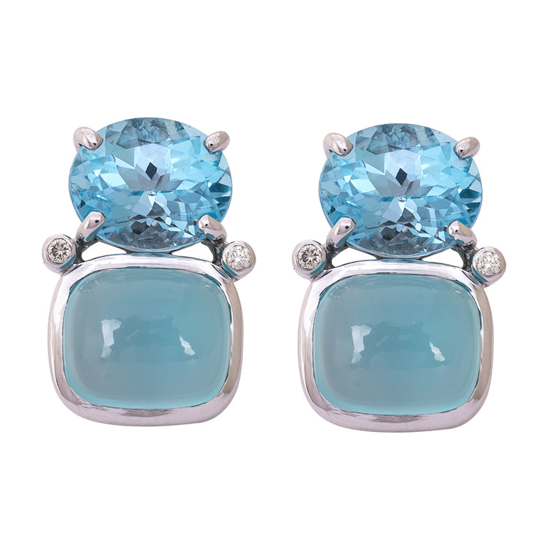 Earrings- Blue Topaz, Chalcedony and Diamond