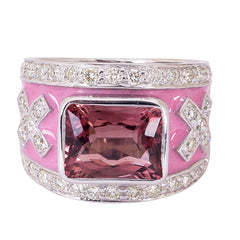 Ring- Rubellite and Diamond (Enamel)