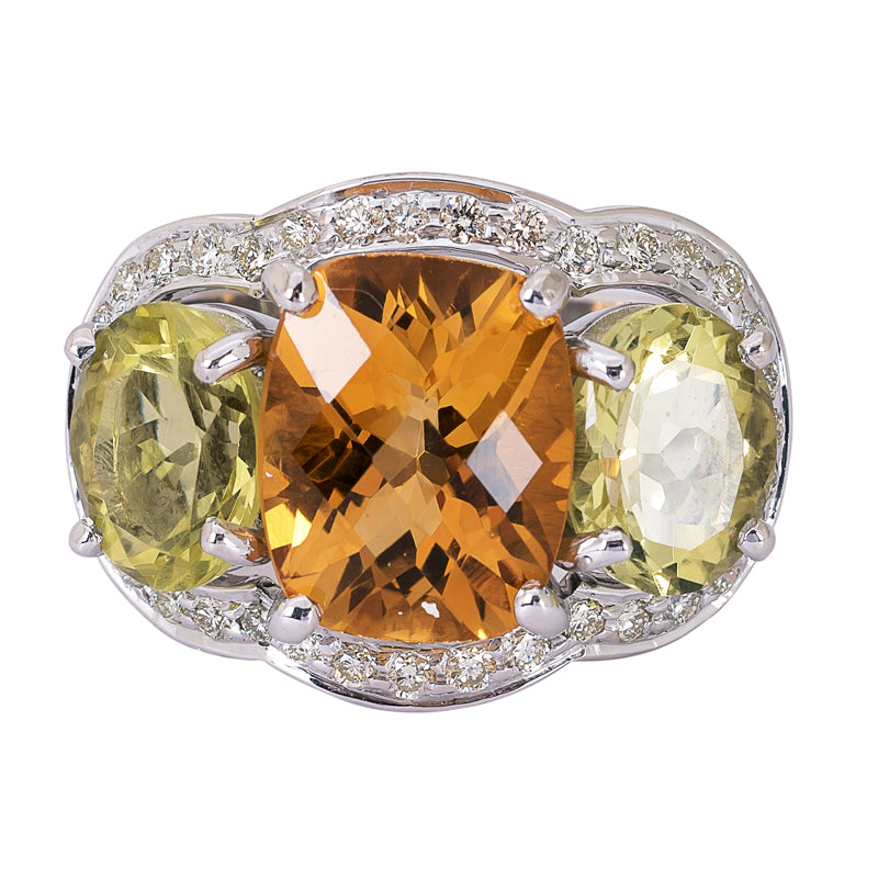Ring- Citrine, Lemon Quartz and Diamond