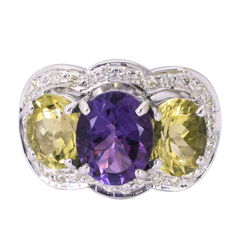 Ring- Amethyst, Lemon Quartz and Diamond