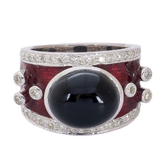 Ring- Black Onyx and Diamond (Enamel)