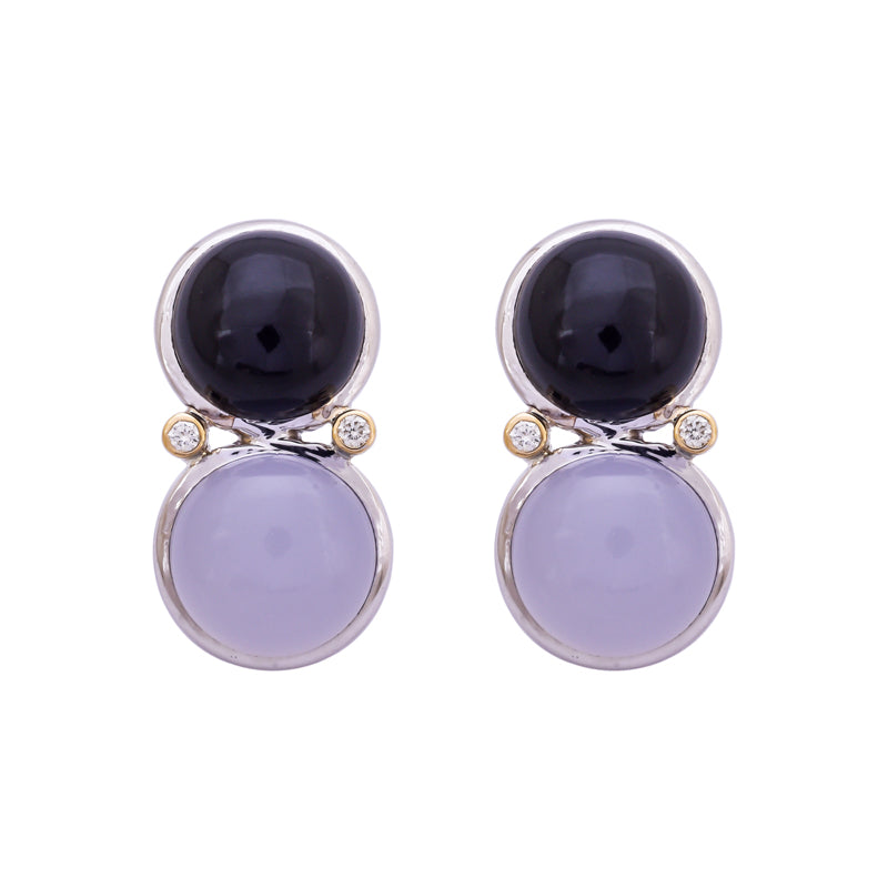 Earrings- Onyx, Chalcedony and Diamond
