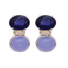 Earrings- Chalcedony, Iolite and Diamond