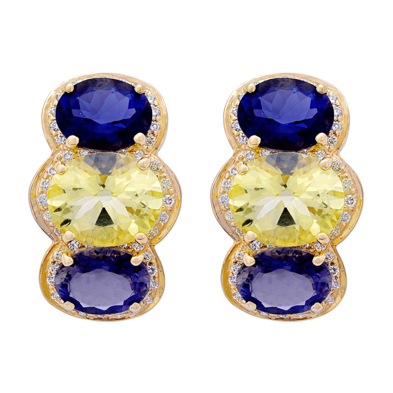 Earrings- Iolite, Lemon Quartz and Diamond