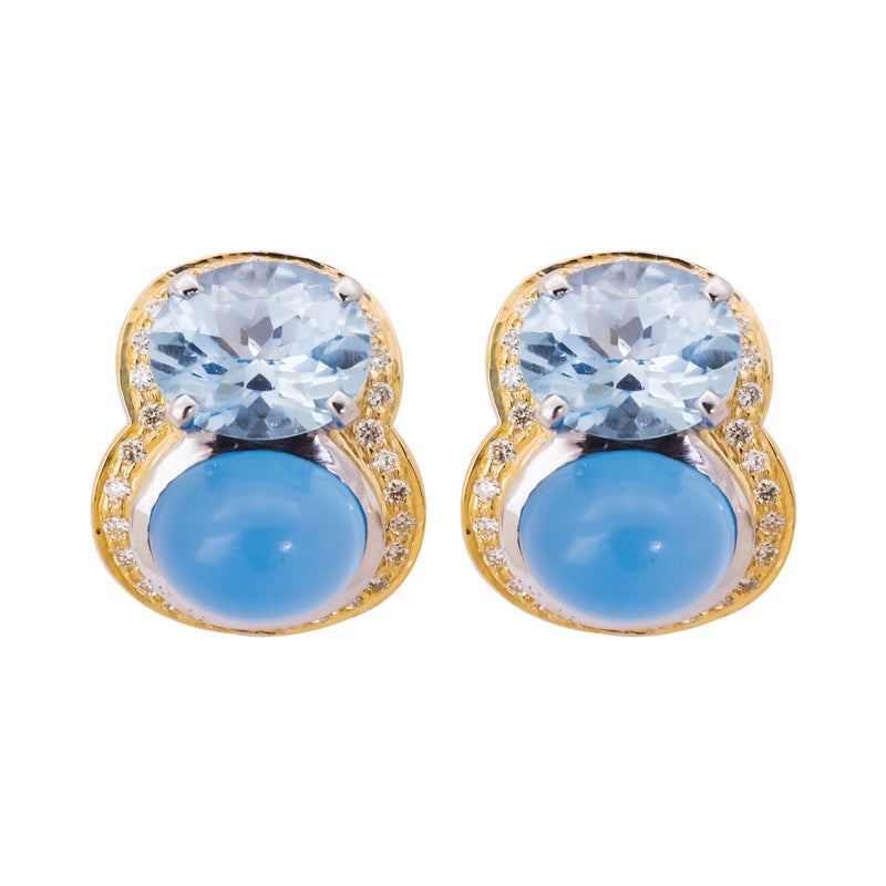 Earrings- Chalcedony, Blue Topaz and Diamond