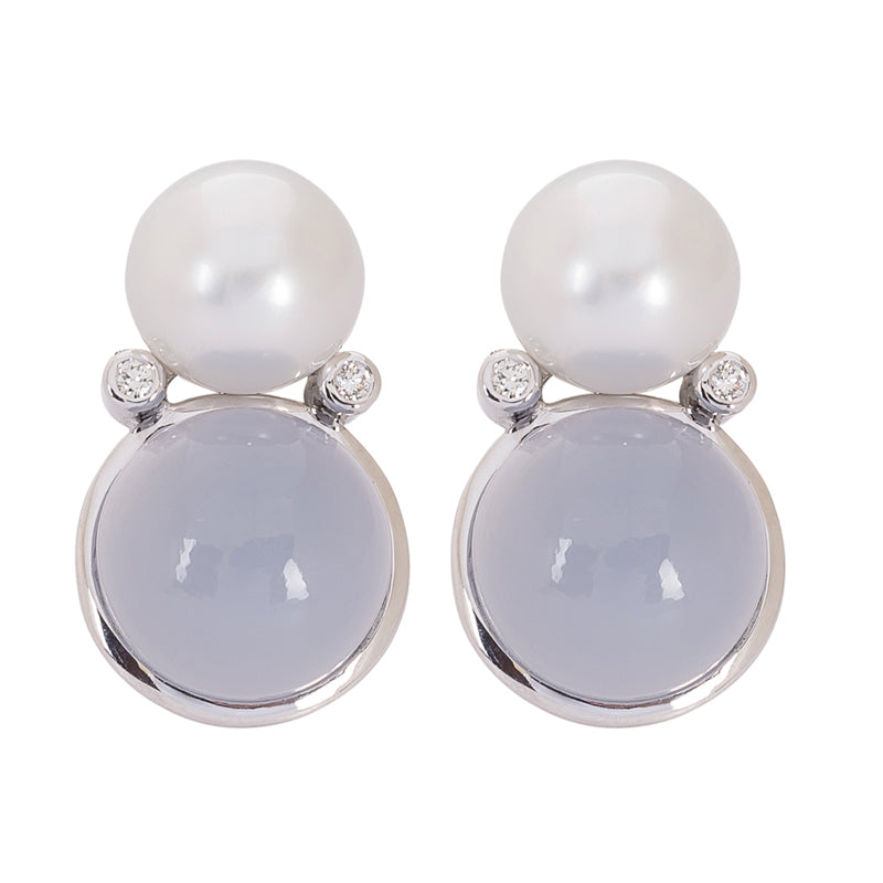 Earrings- Chalcedony, Pearl and Diamond
