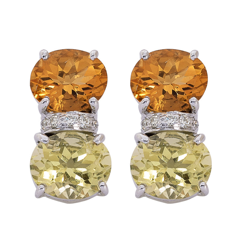Earrings- Citrine, Lemon Quartz and Diamond