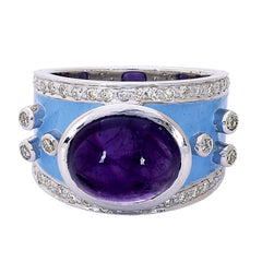 Ring- Amethyst and Diamond (Enamel)