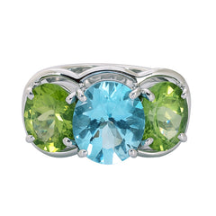 Ring- Blue Topaz and Peridot