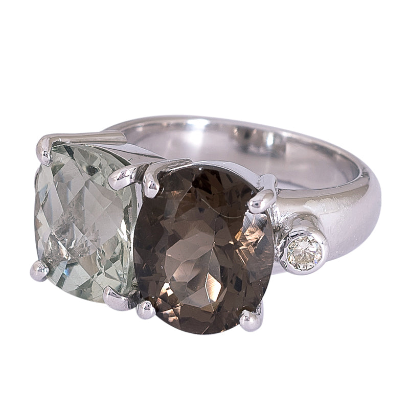Ring- Green Quartz, Smokey Quartz and Diamond