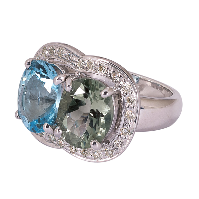 Ring- Green Quartz, Blue Topaz and Diamond