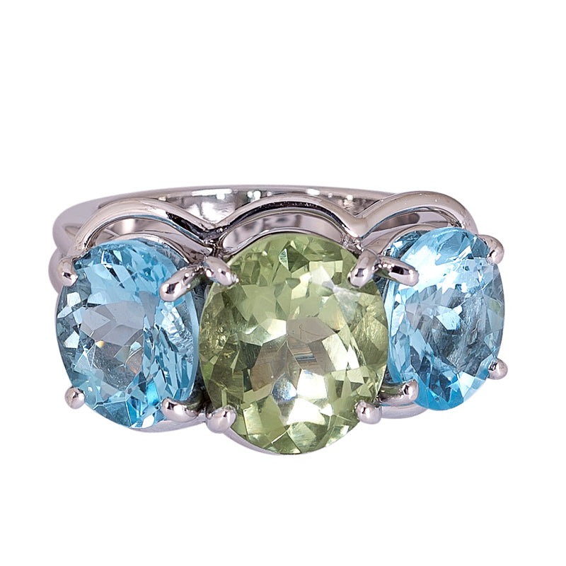 Ring- Green Quartz and Blue Topaz