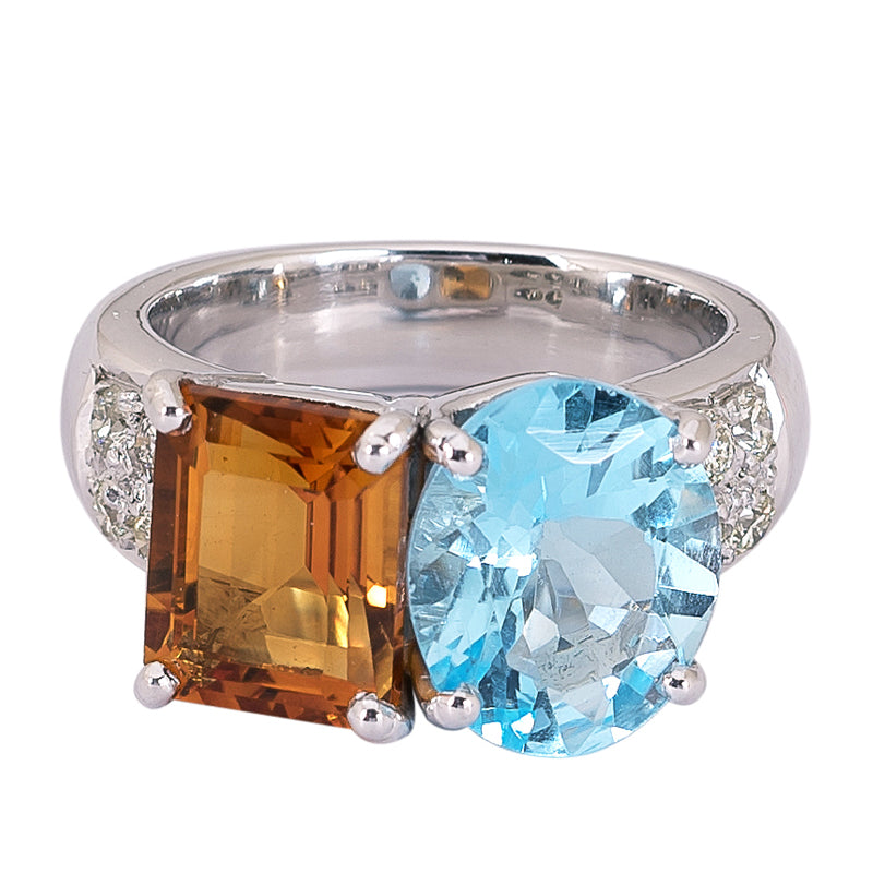 Ring- Blue Topaz, Citrine and Diamond