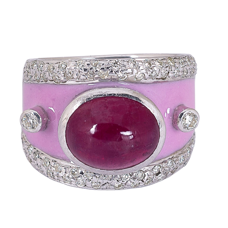 Ring- Glass Filled Ruby and Diamond (Enamel)
