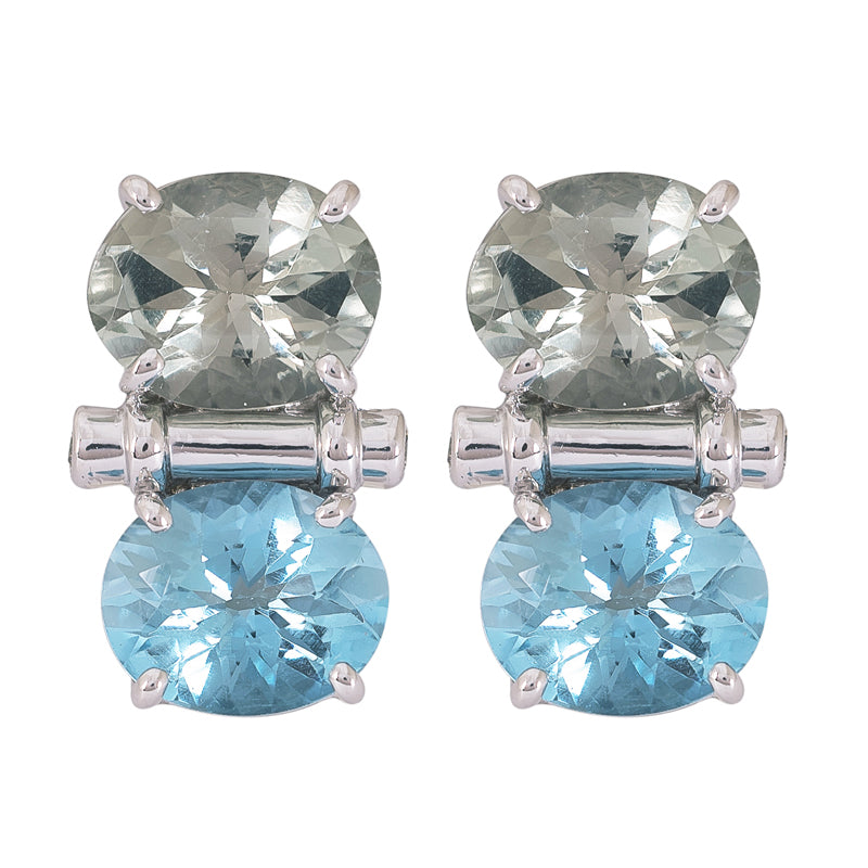 Earrings- Blue Topaz, Green Quartz and Diamond