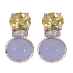 Earrings- Lemon Quartz, Chalcedony and Diamond