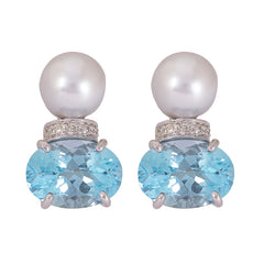 Earrings- Pearl, Blue Topaz and Diamond