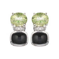 Earrings - Black Onyx, Green Quartz And Diamond