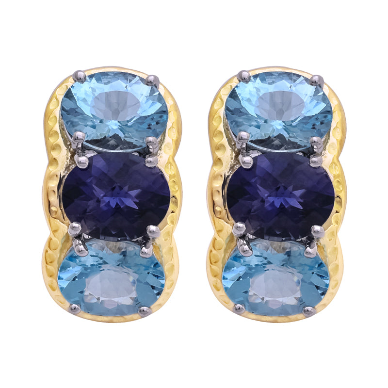 Earrings- Iolite and Blue Topaz