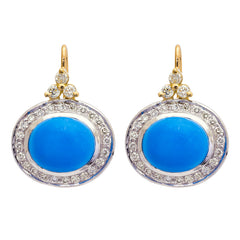 Earrings- Turquoise and Diamond