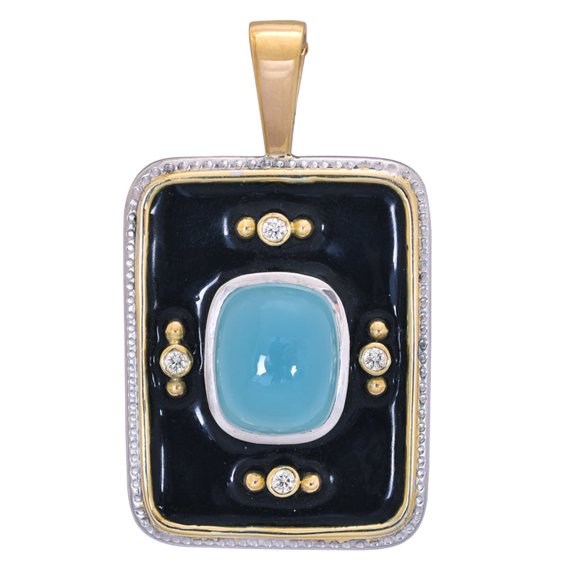 Pendant- Chalcedony and Diamond (Enamel)