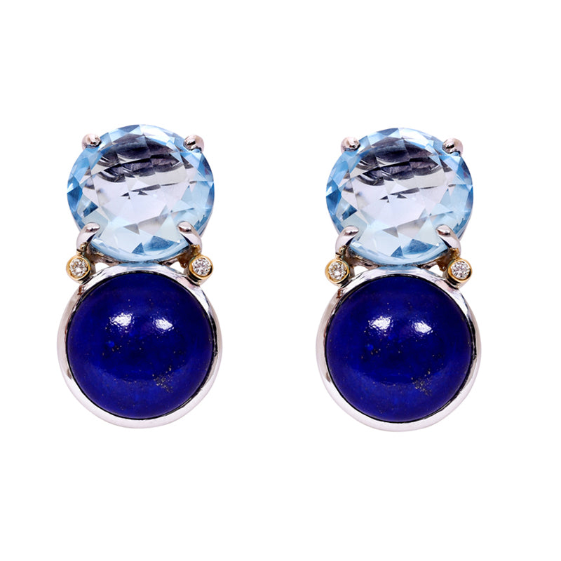 Earrings- Lapis Lazuli, Blue Topaz and Diamond
