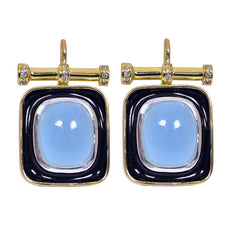 Earrings- Chalcedony and Diamond (Enamel)