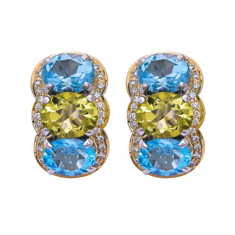 Earrings- Blue Topaz, Lemon Quartz and Diamond