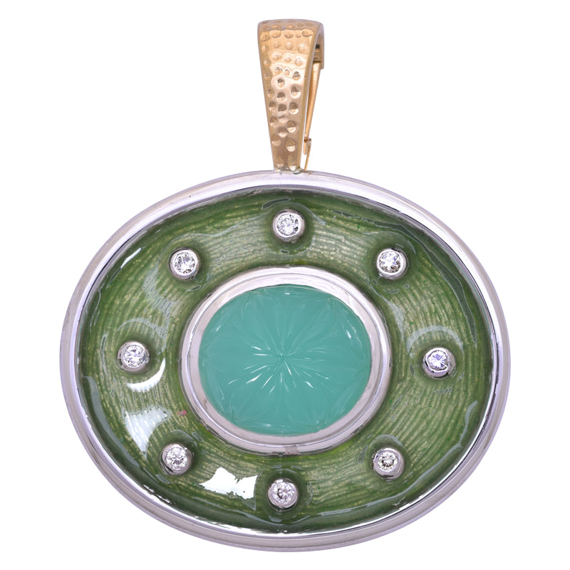 Pendant- Chrysoprase and Diamond (Enamel)