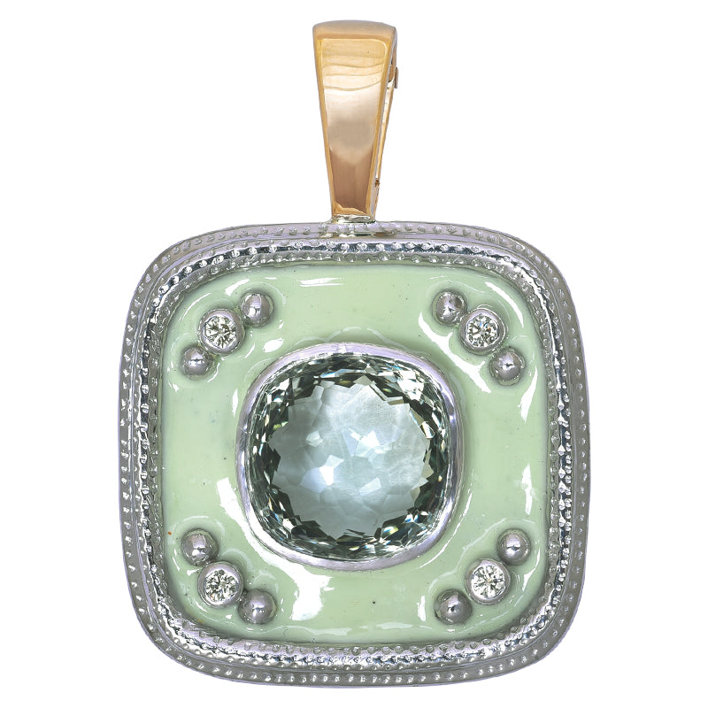Pendant- Green Quartz and Diamond (Enamel)