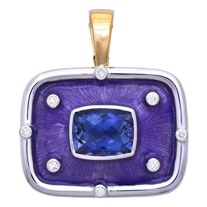 Pendant- Iolite and Diamond (Enamel)