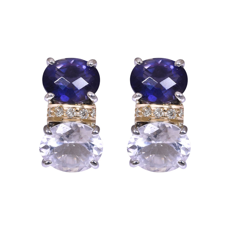 Earrings- Iolite, Crystal and Diamond