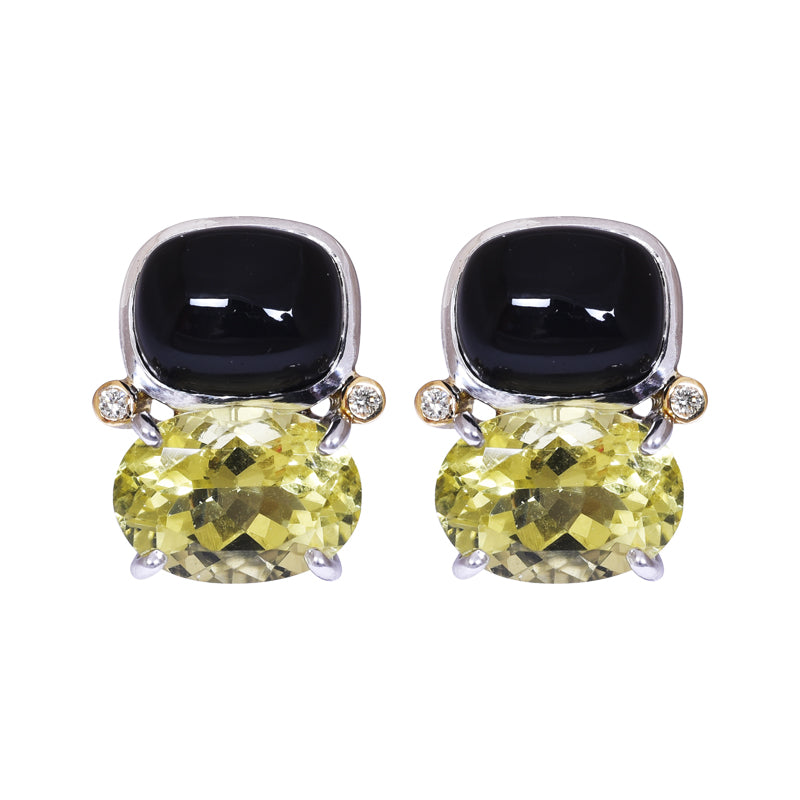 Earrings- Onyx, Lemon Quartz and Diamond