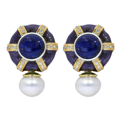 Earrings- Lapis Lazuli, Sea South Pearl and Diamond (Enamel)